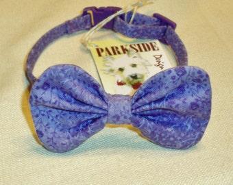 Breakaway Cat Bow Tie Collar With Lavander Flowers