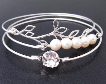Bridal Bracelets, Dainty Bracelet Set, Silver Plated Branch, Cultured Freshwater Pearls & Rhinestone, Delicate Bracelets, Dainty Jewelry