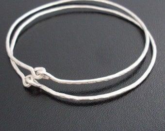Hammered Sterling Silver Bangle Bracelets, Sterling Silver Handmade Jewelry, Sterling Silver Bangle Set, Hand Made Sterling Silver Bracelets