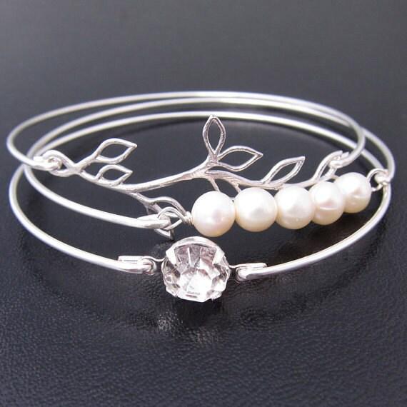 Romance - Silver Bridal Bracelet Set, Wedding Day Jewelry, Dainty Bracelet, Delicate Bracelet, Delicate Jewelry, Dainty Jewelry