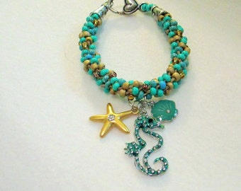 Hand Beaded Seahorse Charm Bracelet - Friendship Bracelet fits 6 1/2 to 7 1/2 inch wrist