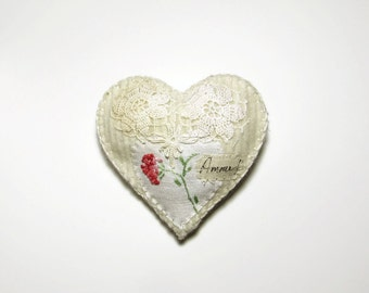 Heart ornament/Amour vintage floral linen and doily on white felted knit
