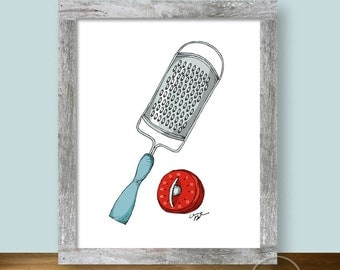 Grater and Timer Illustration - 8x10 Kitchen Wall Art Instant Printable