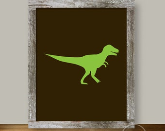 TRex Printable Art 8x10 in Brown and Green