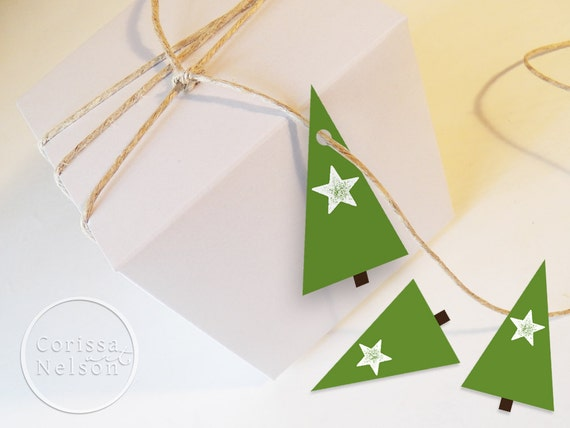 Modern Christmas Tree Gift Tags Holiday Instant