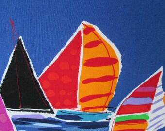 "Nautical Decorative Sailboats Pillow, Alexander Henry ""Boat Cruise"""