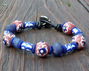 Blue Recycled Glass Bracelet - Blue Recycled Glass Beads, Coral Recycled Glass Krobo Beads, Black Leather Bracelet