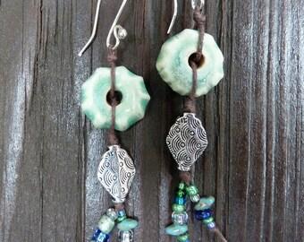 Dark Mint Green Earrings - Handmade Ceramic Wheels, Silver Diamond Beads, Blue-Green Glass Beads, Dangle Earrings