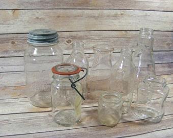 Glass Bottles and Jars Collection of 8 Vintage Glass Containers Zinc Lid Hazel Atlas Milk Bottle Vintage Flower Vase