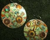 Very big, round copper earrings, green, oxidized jewelry