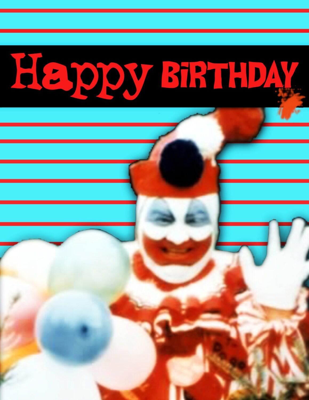 John Wayne Gacy Birthday Card clown serial killer – Clown Birthday Cards