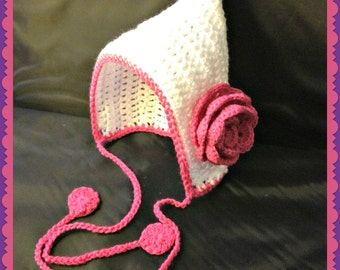 Pixie Hat with rose for baby