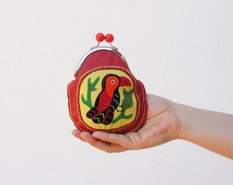 Leather Bird Wallet Kiss lock Wallet Mola Applique Red Leather