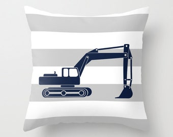 Construction Excavator Navy Blue Gray and White Stripe Throw Pillow Cover Case 16X16 or 18x18 Or 20x20 Hidden Zipper