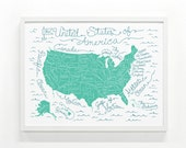 United States Map Poster - 18 x 24 Handprinted, Kids Room Art Print, USA map