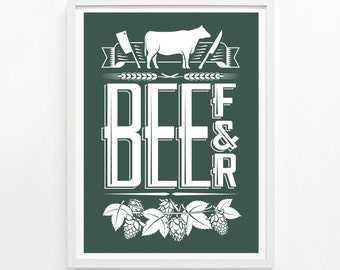 Foodie Gifts, Kitchen Decor, Mens Gift, Foodie Gift for Her, Posters of Food - Beef & Beer Screenprint Poster 9 x 12: