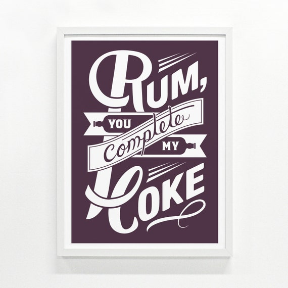 Rum Print, 9 x 12 - Hand Printed - Pick Your Color
