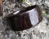 Wide Wood Bangle Bracelet - Wenge Wood Wooden Bangle Bracelet (Size M) - Natural Jewelry Gift