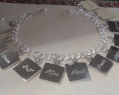 Engravable Sterling silver double link charm bracelet with choice of charm style and number of charms
