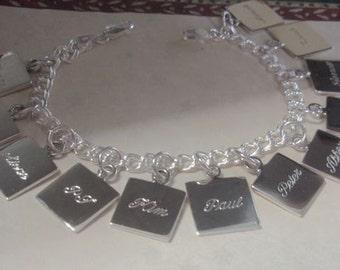 Engravable Sterling Silver Charm Bracelet, Personalized Silver Charm Bracelet, Monogrammed Silver Charm Bracelet, Grandma Bracelet