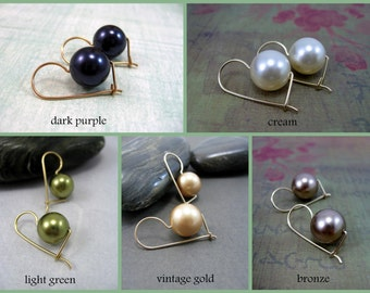 Large Pearl Drop Earrings, Swarovski Vintage Gold, Gold Filled Kidney Earwires, Autumn/Spring Collection, Travel Safe, Choose Your Colour