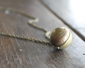 Towanda Brass Ball Locket Pendant Necklace on Antique Brass Chain - Take A Picture It'll Last Longer