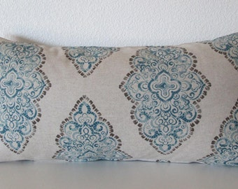Pillow cover - Blue medallion - Monroe print - Damask blue - oatmeal - Cushion Cover