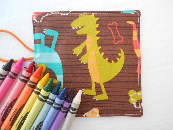READY TO SHIP Mini Crayon Organizer Roll - Dino Dude - holds 8 - 10 crayons dinosaur stocking stuffer toddler toy kid gift party favor