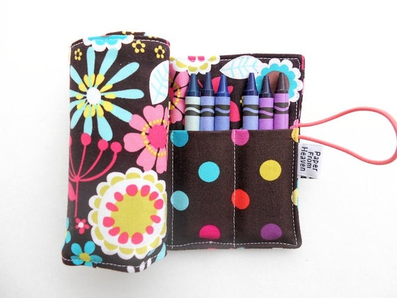 Crayon Roll - Lazy Daisy - 24 crayons easter basket stocking stuffer kids gift flower crayon holder toddler toy crayon storage