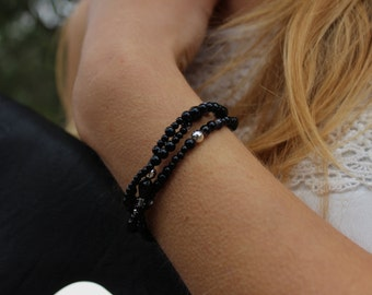 Black and Silver Midnight Braided Beaded Bracelet.