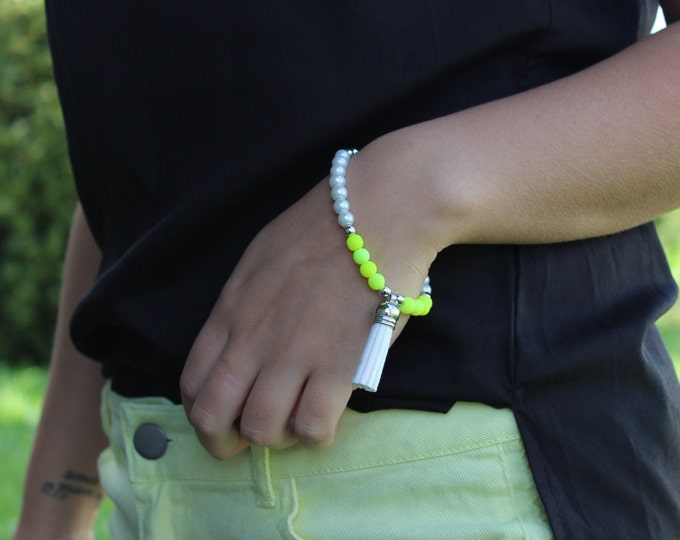 Neon yellow and Pearl tassel bracelet