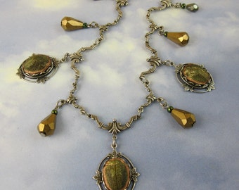 Art Deco Necklace with Extremely Rare 1920s Glass Scarab Beetles and Antique Silver Filagree