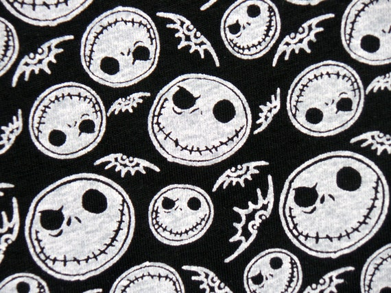 Nightmare before christmas jack skellington on black cotton jersey