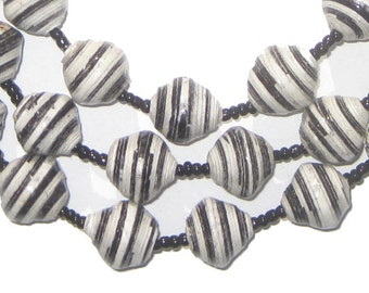 50 Recycled Paper Beads from Uganda - Black & White Zebra Strip - African Beads - Made in Uganda ** (PPR-BIC-BLK-104)