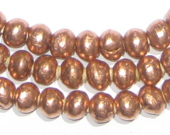 130 Round Copper Ethiopian Beads 6mm - African Copper Beads - Jewelry Making Supplies - Made in Ethiopia ** (MET-RND-CPR-240)