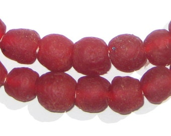 50 Recycled Glass Beads - Red Glass Beads 11mm - African Beads - Eco-Friendly Jewelry Making Supplies - Made in Ghana ** (RCY-RND-RED-552)