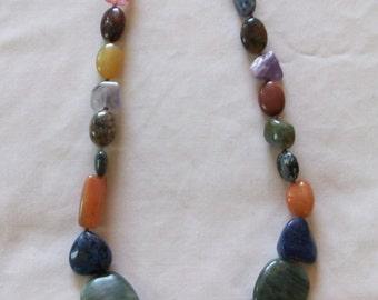wampum necklace with gem stones