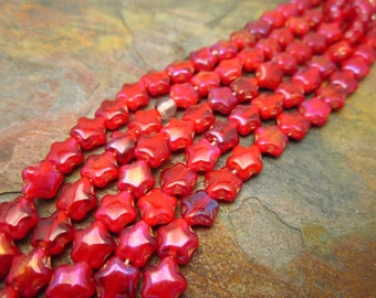 Fuchsia Red Czech Glass 6mm Star Beads