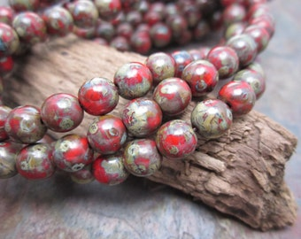 Marbled Red Picasso Druk Czech Glass 6mm Round Beads
