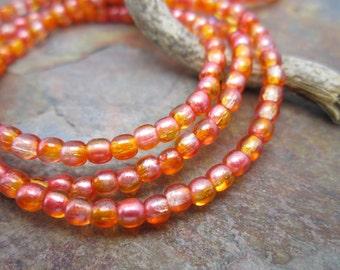 Orange AB Czech Glass Druk 3mm Beads