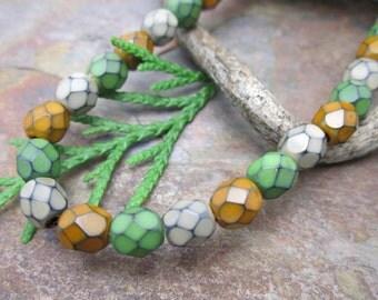 Snake Earthy Mix Firepolished 6mm Czech Glass Beads