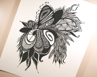 Instinct . Original Pen Drawing . Abstract Art . Black and White Art . Feather Art