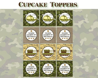 Printable Army Birthday Party - CUPCAKE TOPPERS - Printable Camo Army Cupcake Toppers - Army Men Decorations - DIY Birthday Party