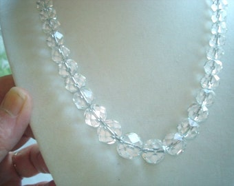 "Clear Faceted Crystal Beads Strand Necklace 16"" Good Condition ."
