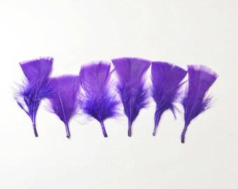 12pcs Turkey Flat Feathers-Grape Purple #17