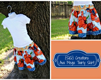 INSTANT Download SIG Ava Mega Twirly Skirt Pattern eBook - Size 6 to 12 Youth Tween