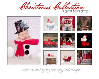 CHRISTMAS COLLECTION OF 10- Newborn Baby Photography Prop Digital Backdrop for Photographers