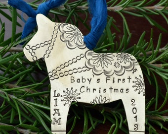 Metal Dala Horse Ornament in Brass Copper or Nickel Silver Handstamped Personalized -First Christmas, Commemorative, Memorial, Keepsake