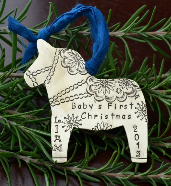 Metal dala horse ornament personalized in by amynicolejewelry