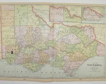 Victoria Australia Map 1902 Original Vintage Map, Travel Map, Antique Art Map, Australian Gift for Home Decor, Old Geography Art